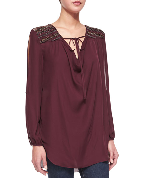 Haute Hippie Embellished-Shoulder Front-Tie Blouse, Fig