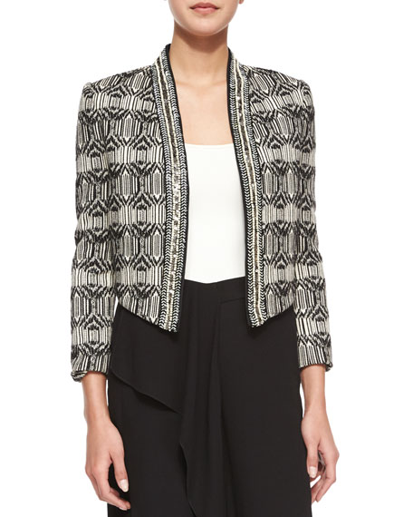 Haute Hippie Tribal-Print Chevron-Embellished Jacket, Swan/Black