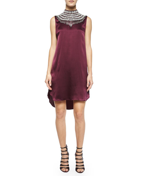 HAUTE HIPPIE Embellished-Neck Silk Shift Dress, Fig