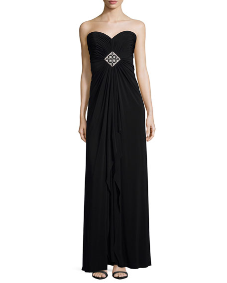 Melinda Eng Strapless Sweetheart Jewel-Gathered Gown