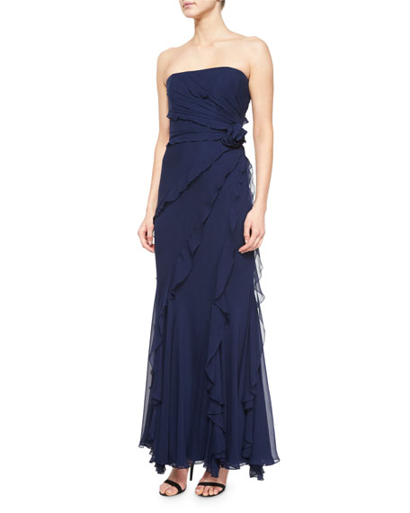 Melinda Eng Strapless Tiered Ruffled Gown