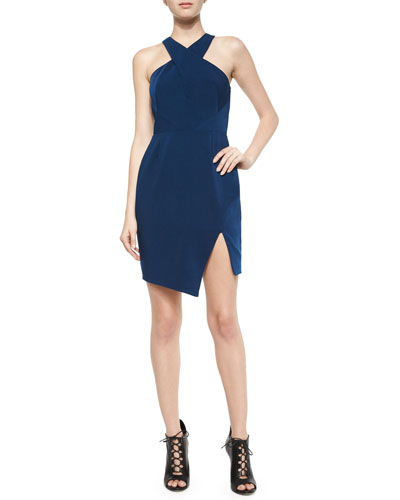 Motionless Asymmetric Sheath Dress, Navy