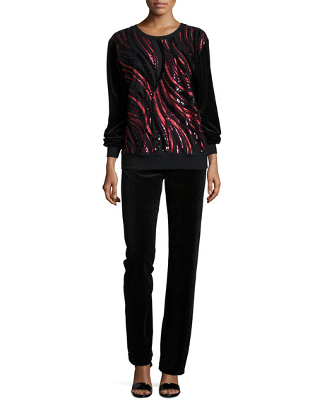 NM EXCLUSIVE Sequined-Front Sweater & Pant Set, Women's