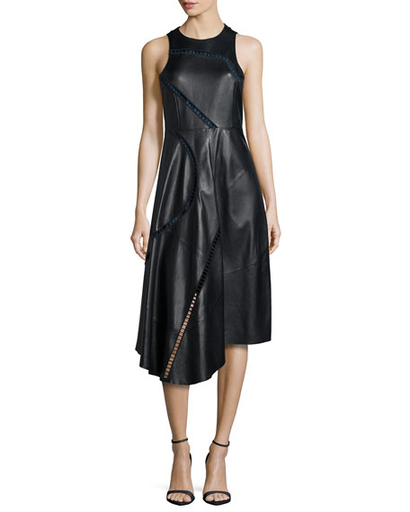Tibi Asymmetric Leather Midi Dress, Black