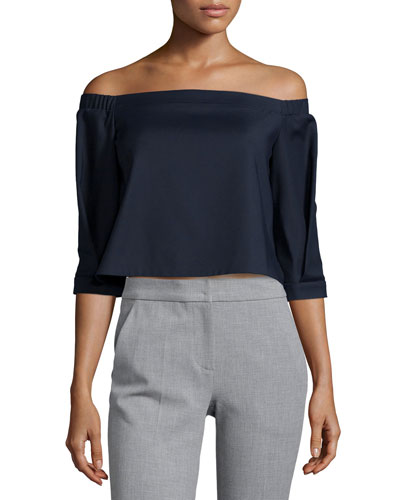 Nanook Cropped Off-the-Shoulder Ponte Top, Navy