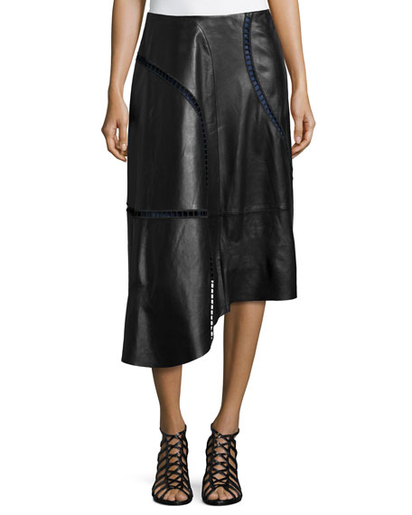 Tibi Eska Cutout-Trim Leather Skirt, Black