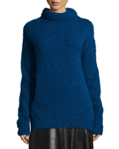 Bubble Mohair Sweater, Pacific Blue