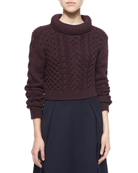 Tibi Cropped Cable-Knit Pullover Sweater, Burgundy