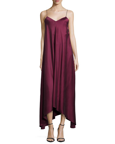 Rossa Silk Midi Dress, Burgundy