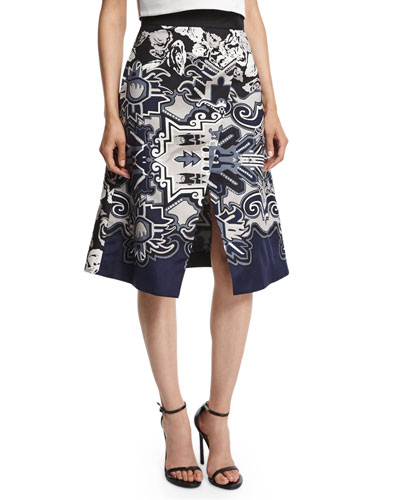 Silk Multipattern Wrap Skirt, Blue