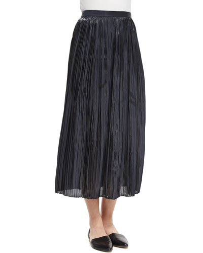 Pleated Midi Skirt, Black