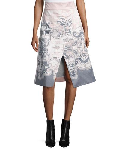 Silk Southwestern-Print Wrap Skirt, Blush
