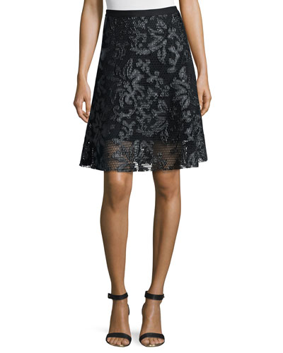 Jacquard Mesh Flare Skirt