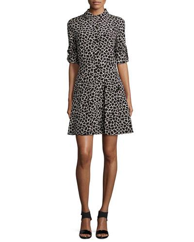 Long-Sleeve Giraffe-Print Shirtdress, Buff