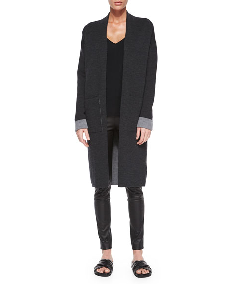 Theory Armelle Evian Stretch Cardigan, Dark Charcoal/Light