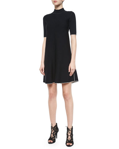 Lakelyn Evian Contrast-Trim Dress, Black/Ivory Ice