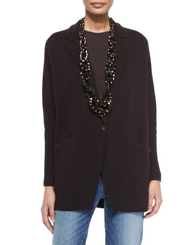 Notched-Collar Interlock One-Button Jacket, Chocolate, Petite