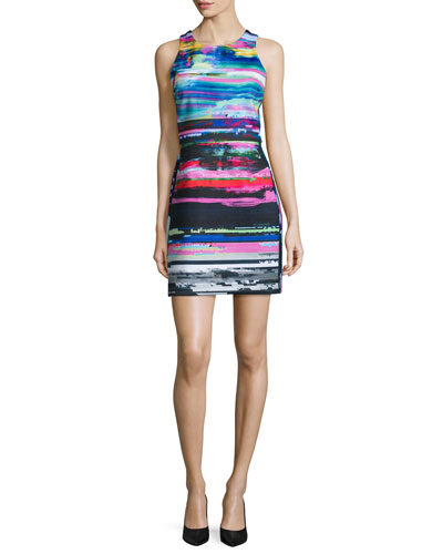 Luna Sleeveless Jewel-Neck Dress, Black Light Stripe