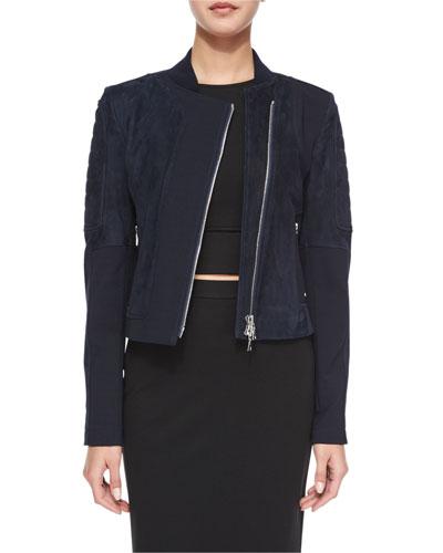 Shezi K. Perfect Long-Sleeve Suede Jacket, Navy