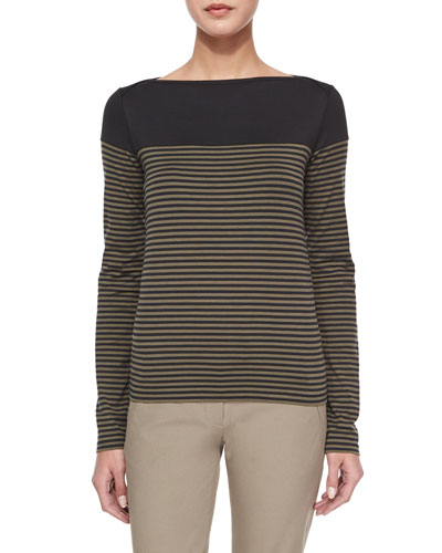 Kriselfa Everyday Striped Long-Sleeve Top, Black/Laurel