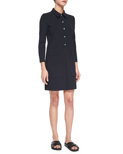 Erimenthia Three-Quarter Sleeve Ponte Dress, Navy
