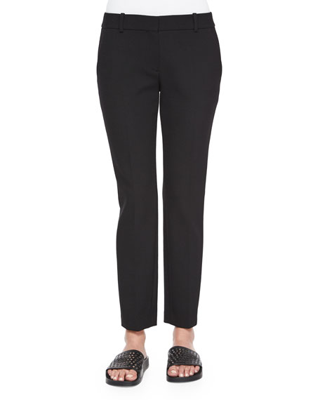TheoryTreeca Straight-Leg Faded Pants, Black