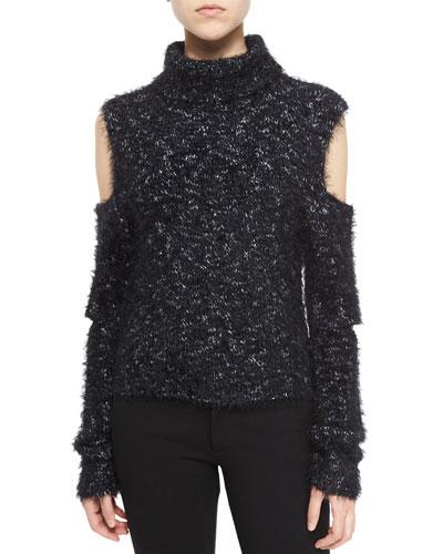 Metallic Cutout Turtleneck Sweater, Black