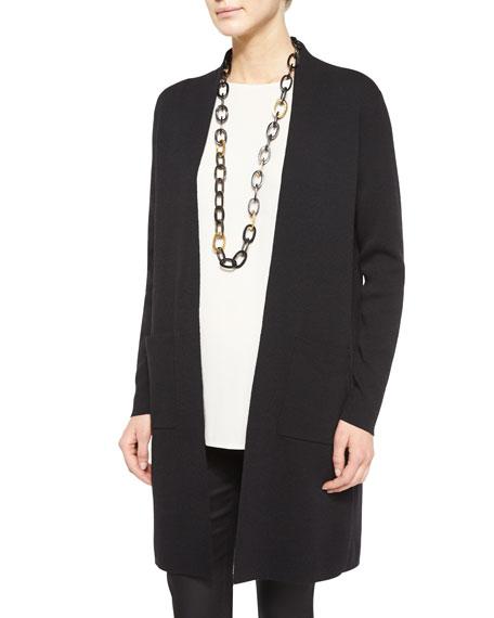 Washable Wool Crepe Long Cardigan, Plus Size