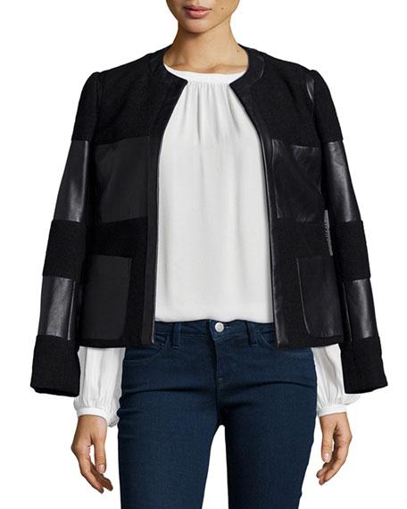 Harper Leather-Trim Wool Jacket, Black