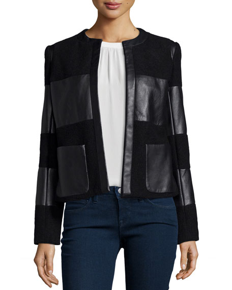L'Agence Harper Leather-Trim Wool Jacket, Black