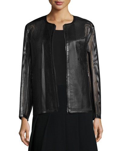Pascale Perforated Leather Topper, Black