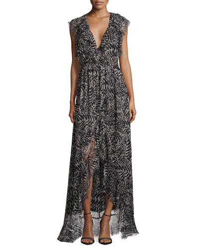 Sophie Ruffle-Trim Print Maxi Dress