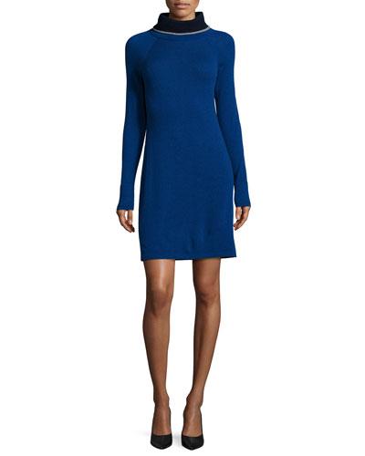 Cashmere Turtleneck Colorblock Dress