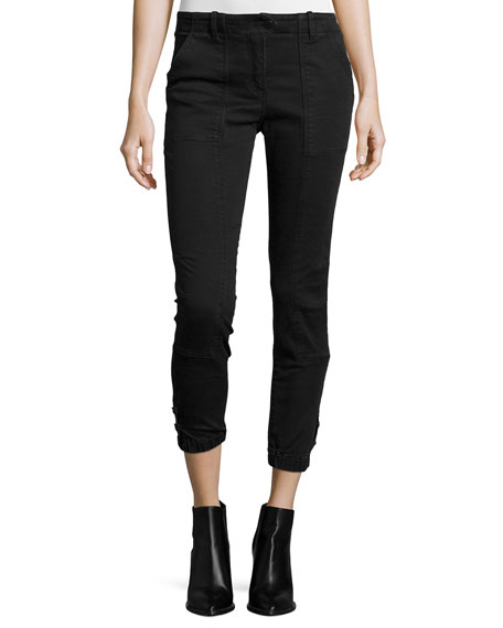 Veronica Beard Field Cargo Cropped Pants, Dark Gray