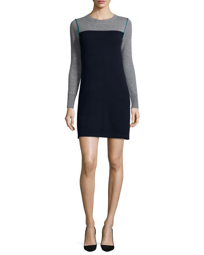Cashmere Colorblock Yoked Long-Sleeve Dress