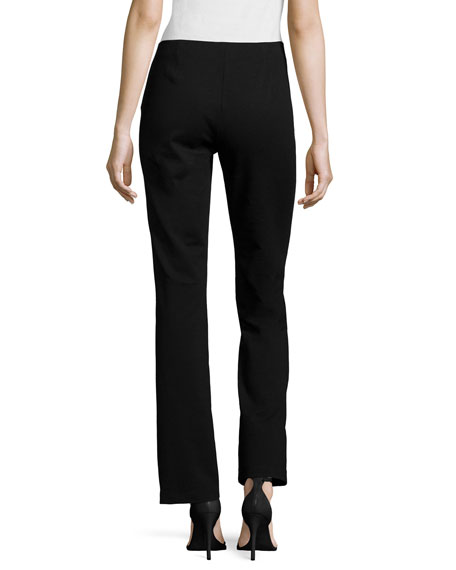 Boot-Cut Ponte Pants, Black