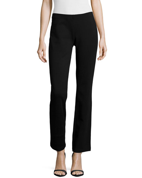 Eileen Fisher Boot-Cut Ponte Pants, Black, Petite
