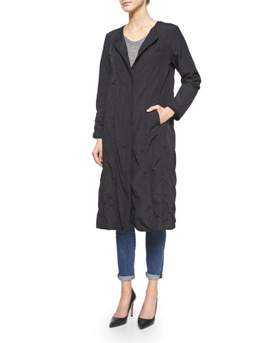 Bonded Snap-Front Long Coat
