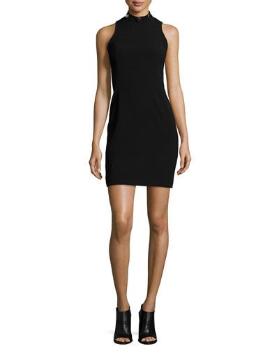 Crystal Studded Mock-Neck Dress, Black