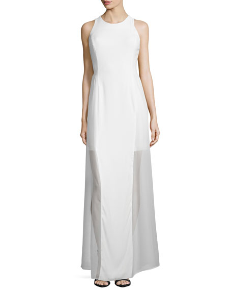 Grace Chloe Paneled Silk Chiffon Long Dress, White