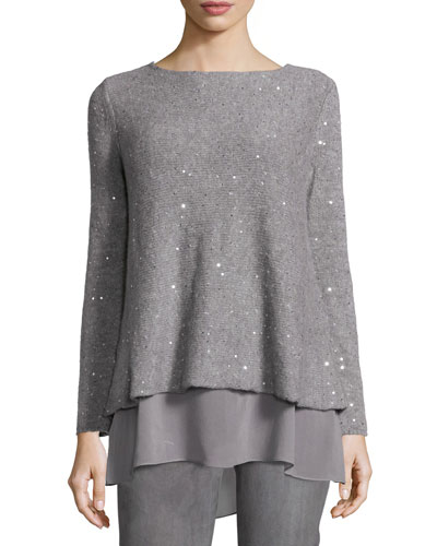 Embellished Layered-Hem Sweater