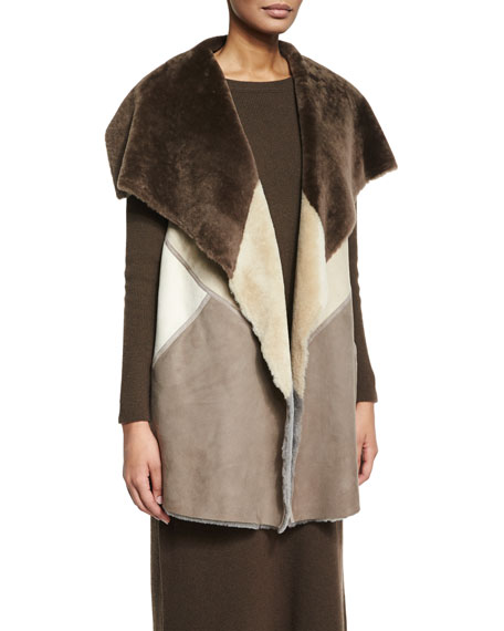 Lafayette 148 New York Clemence Colorblock Fur Vest