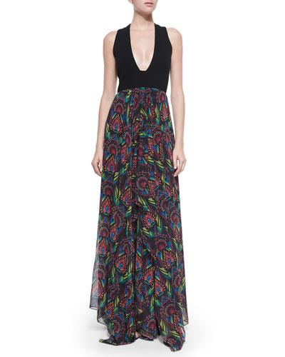 Cait Sleeveless Deco-Print Maxi Dress, Black/Multicolor