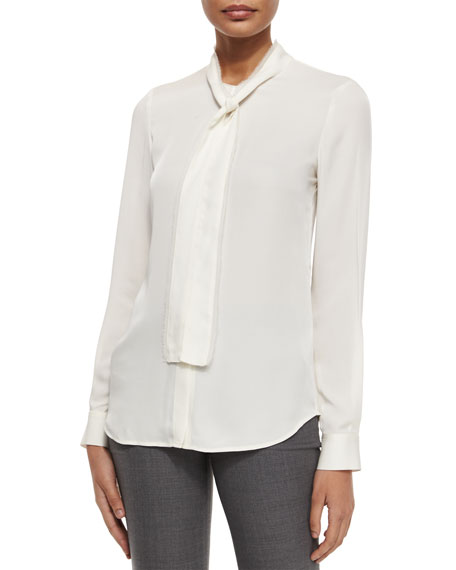 Theory Raashida Long-Sleeve Blouse, Ivory