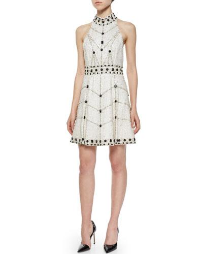 Halter-Neck Embellished Dress