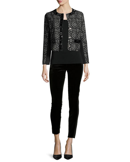 Michael Simon Dressy Cropped Jacket W/ Stone Trim,