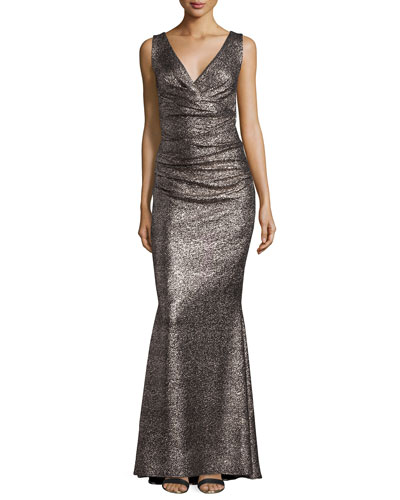 Bossa Gilded V-Neck Ruched Gown, Gold