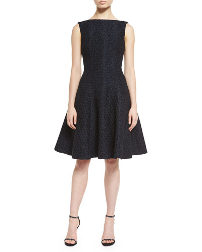 Doha Sleeveless Bateau-Neck Cocktail Dress, Navy