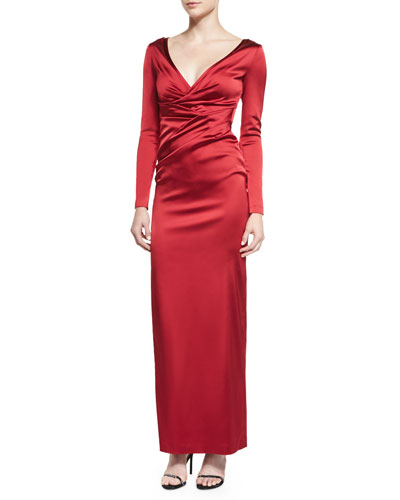 Gobelina Long-Sleeve Surplice Gown, Red