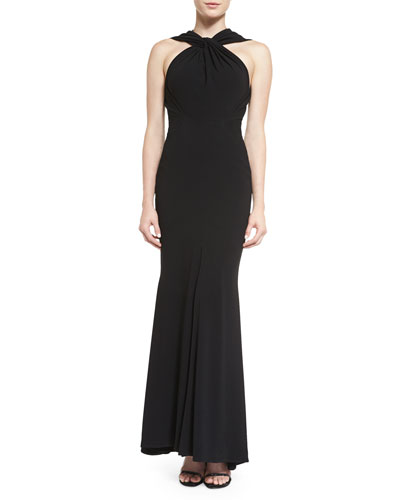 Golatta Twist-Neck Mermaid Gown, Black